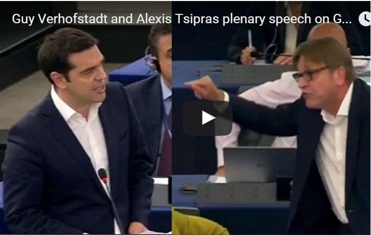 Guy Verhofstadt and Alexis Tsipras plenary speech